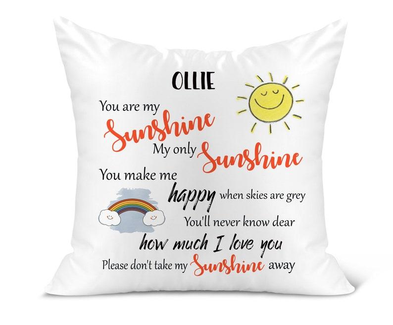 ANY NAME 40 x 40cm Personalised You are My Sunshine Kids Cushion Keepsake Gift