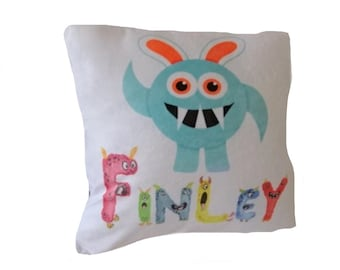 Personalised Boys Monster Cushion, Birthday, Christening Gift, Son,Grandson,Nephew, Any Name, Cute Keepsake