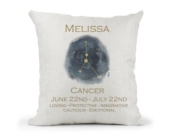 Personalised Zodiac Star Sign Gift.. Cream Cushion.. Astrology Gift.. CANCER.. Birthday Keepsake.. Sign Traits.. Inspirational