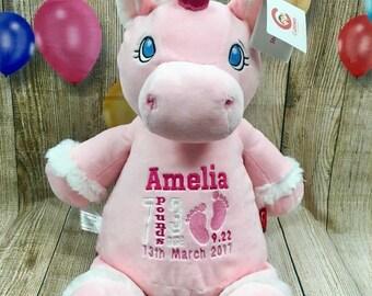 Personalised Unicorn Cubbie