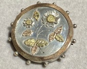 Antique locket Aesthetic movement silver and green pink gold brooch pin locket Victorian exquisite extremely rare