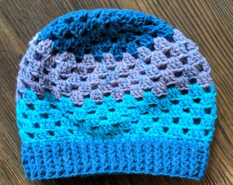 Blue and Teal Crochet Beanie