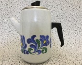 Groovy Vintage Enamelled Coffe Pot and Filter