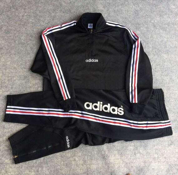 Vintage Adidas Hose Track Jacke RUN DMC Hiphop Kleidung voller Set großes Logo