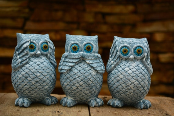 Sea Speak Hear No Evil Owl Figurines,Owl Decor,Owl Gift,Owl Figurine,Blue Owl,Housewarming Gift,Owl Home Decor,See Speak Hear no Evil Gift