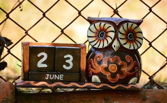 Desk Perpetual Calendar,Owl Desk Accessory,Owl Calendar Perpetual,Rustic Perpetual Calendar,Owl Calendar,Owl Home Decor,Wood Blocks Calendar