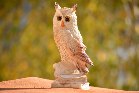 White Owl Figurine,Owl Sitting on Book,White and Brown Owl,Owl Figurine,Owl Decor,Owl on Books,Owl Gift,Owl Home Decor,Christmas Gift,Xmas