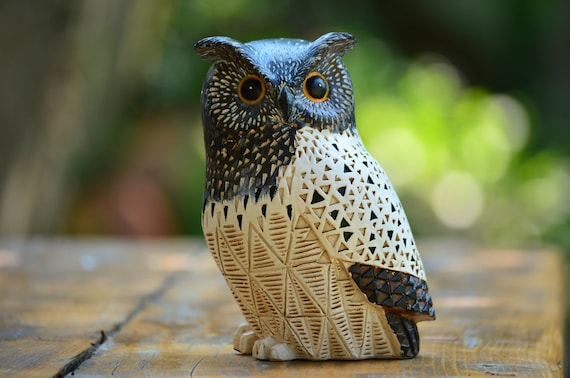 Brown and White Owl Figurine,Owl Statuette,White Owl,Owl Statue,Owl Figurine,Owl Home Decor,Owl Decoration,Owl Gift,Figurine Owl,Owl Decor
