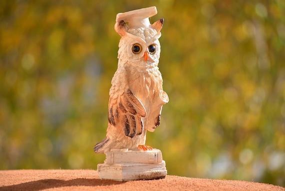Owl Figurine,Graduation Owl,Owl Sitting on Book Figurine,Graduation Gift,Owl on Books,Graduation,White and Brown Owl Figurine,Owl Decor