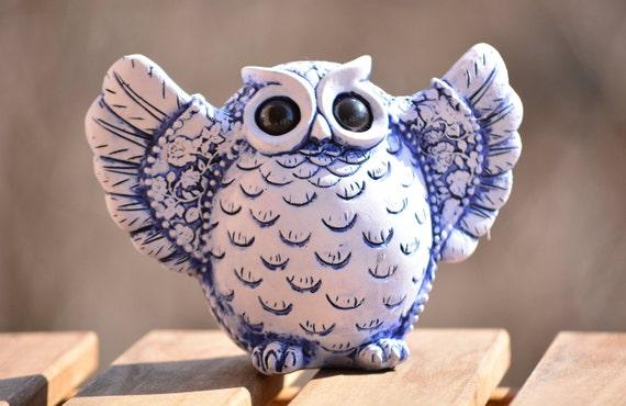 Blue and White Owl Figurine,Owl Home Decor,Owl Decoration,Owl Figurine,Wise Owl,Owl Statuette,Blue Owl Figurine,Owl Gift,Housewarming Gift