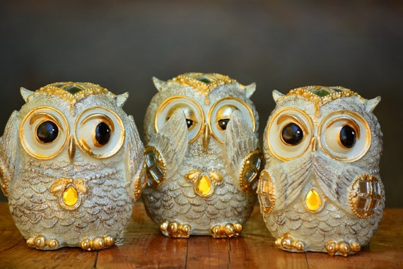 See no Evil Hear no Evil Speak no Evil Owl Figurine,Shiny Owl Decor,Owl Home Decor,Owl Figurine,Silver and Gold Owl Statue,Housewarming Gift