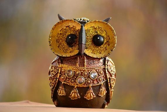 Brown and Gold Owl Figurine,Owl Decor,Shiny Owl Figurine,Owl Gift,Owl Figurine,Golden Owl Statue,Brown Owl Statue,Housewarming Gift,Xmas