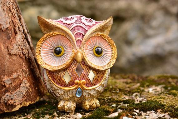 Gold and Purple Owl Figurine,Shiny Owl,Cute Owl Figurine,Owl Decor,Owl Gift,Owl Statue,Housewarming Gift,Owl Birthday Gift,Figurine Owl