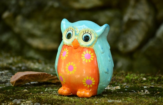 Colorful Ceramic Owl Piggy Bank,Owl Moneybox,Owl Piggy Bank,Owl Figurine,Ceramic Owl,Owl Decor,Cute Owl Piggy Bank,Moneybox Owl,Owl Gift