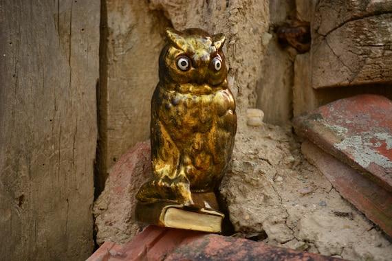 Vintage Golden Owl Statue,Vintage Owl Figurine,Owl Statuette,Vintage Owl Decor,Golden Owl Figurine,Vintage Owl,Shiny Owl Statue,Owl Decor