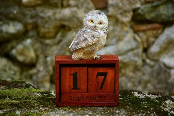 Wood Owl Perpetual Calendar,Desk Block Calendar,Desk Accessorie,Calendar Perpetual,Desk Calendar,Perpetual Desk Calendar,Wooden Owl Calendar