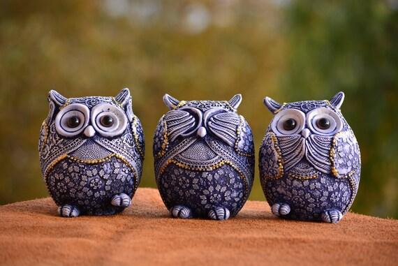 See no Evil Hear no Evil Speak no Evil Owl Figurine,Set of Three Owl Figurines,Blue and White Owl Figurine,Owl Decor,Owl Statue,Xmas Gift
