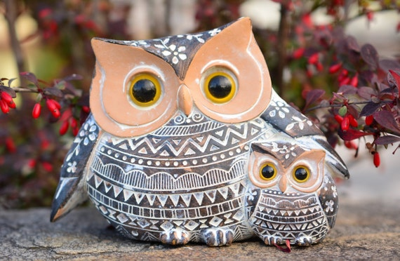Brown and White Owl Family Figurine,Shabby Chic Owl,Owl Figurine,Owl Family Figurine,Owl Lovers Gift,Owl Family Statue,Housewarming Gift