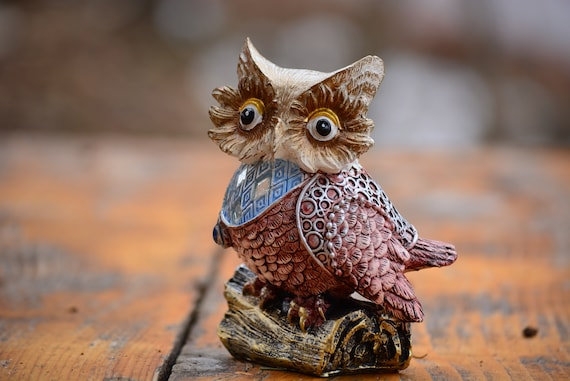 Blue and Brown Owl Figurine,Owl Decor,Owl Gift,Cute Owl Statue,Owl Home Decor,Owl Figurine,Owl Statue,Birthday Gift,Shiny Owl Figurine