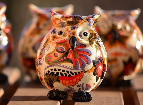 Colorful Owl Figurine,Owl Home Decor,Cute Owl Figurine,Owl Decoration,Small Owl Statue,Colorful Owl Statuette,Owl Figurine,Housewarming Gift