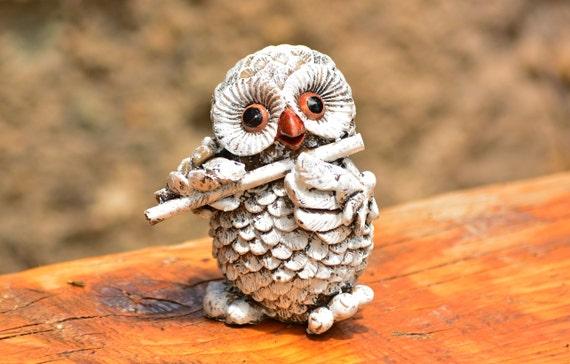 White Owl Figurine,Flute Player Owl,Cute Owl Figurine,Small Lovely Owl,Flute Player Figurine,Owl Figurine,Owl Decoration,White Owl Statuette