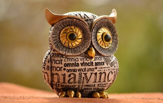 Owl Decor,Owl Gift,Black and White Owl Figurine,Owl Home Decor,Golden Eye Owl Figurine,Newspaper Style,Newspaper Owl,Christmas Gift,Xmas