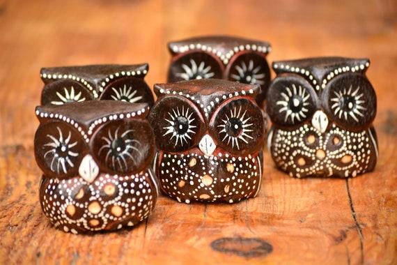 Set of 5 Small Brown and White Owl Figurine,Owl Decor,Owl Gift,Wood Owl Figurine,Owl Statue,Feng Shui Owl,Feng Shui Decor,Housewarming Gift