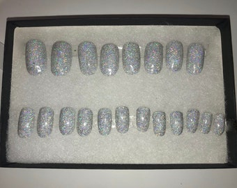 Silver holographic full glitter press on manicure