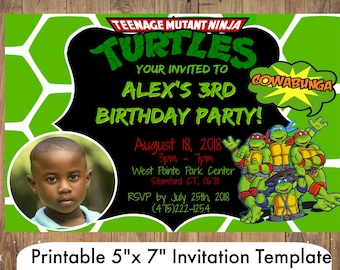 Ninja Turtle Invitation Party Template Birthday Printables Instant Download