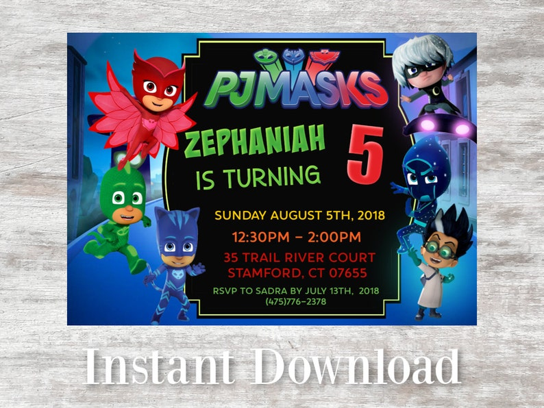 Pj Mask Birthday Party Invitation Invite
