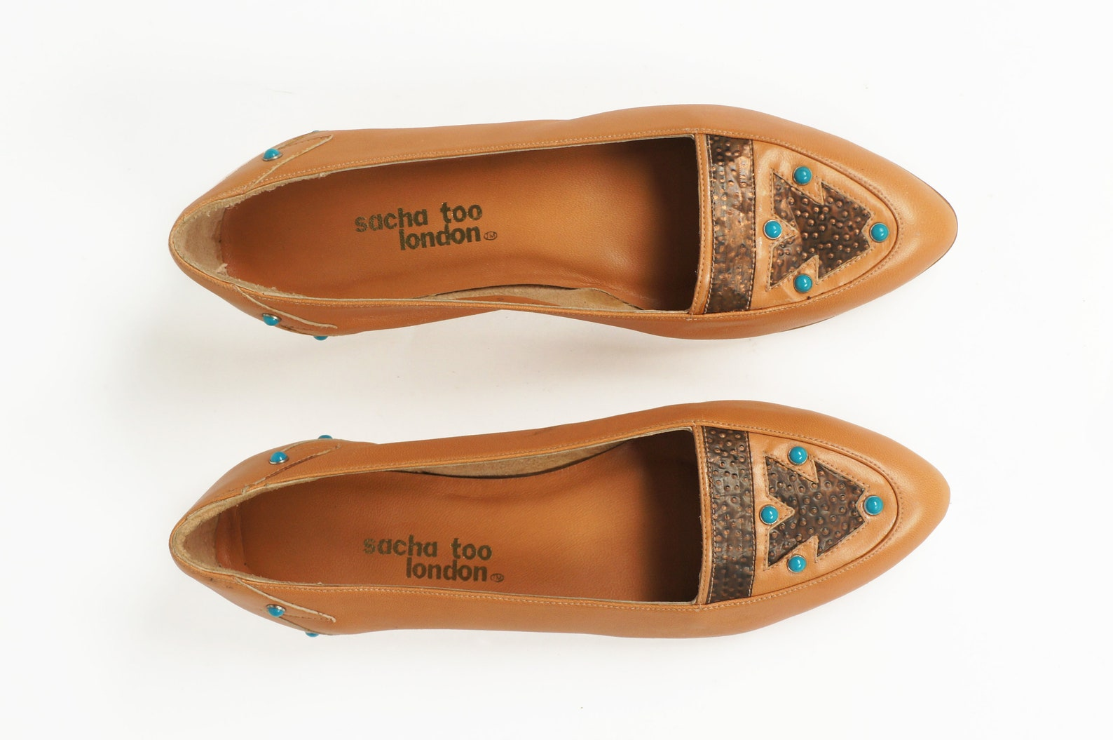 80s leather turquoise ballet flats southwest style slip ons 7.5 b unworn