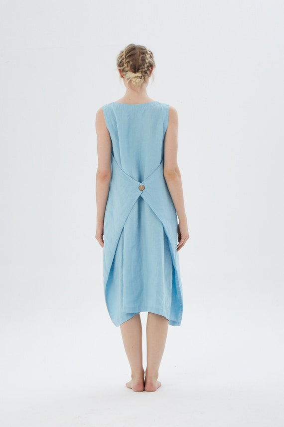 Gathered dress with front pockets SANTA BARBARA /  Linen dress with wooden button / available in 20 colors