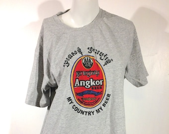 Cambodian Agnkor Beer Silkscreen T-Shirt