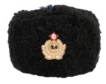 9d5c28dcf84 Russian   Soviet NAVY OFFICERS USHANKA winter black astrakhan fur and  leather hat