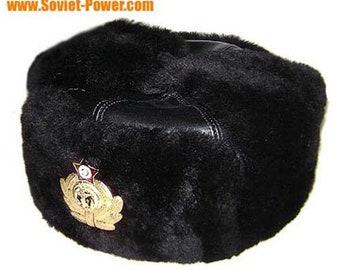 19b7083f22a Russian Navy Capatins black leather Ushanka hat
