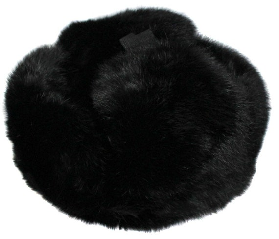 Ushanka Russian style black rabbit fur winter hat with ear  d7b6d0fb107