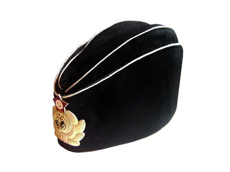 cedc2537e4a Soviet Russian Naval Officer s black summer hat Pilotka