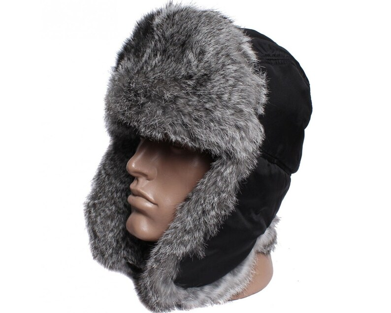 54db6c83d Earflaps winter ushanka hat with rabbit fur