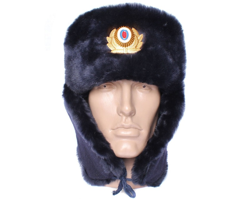 aed15949f8858 Russian Police Officers sheep fur USHANKA winter hat
