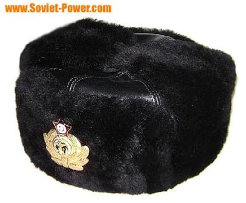 ce9f2ad5 Russian Navy Capatins black leather Ushanka hat | Etsy