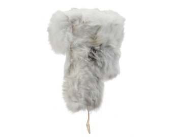White rabbit ushanka fur fluffy winter hat