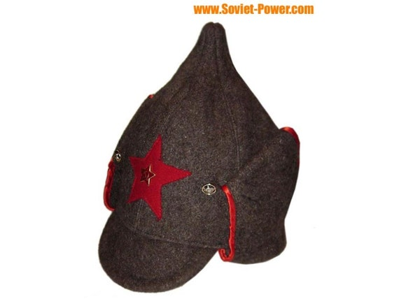 845bde8735a Red Army woolen hat with long ears BUDENOVKA brown