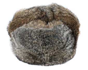 Brown soft rabbit fur modern winter hat ushanka