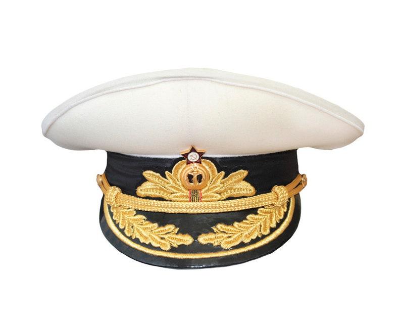 5bef6472 Soviet / Russian ADMIRAL cream parade visor hat | Etsy