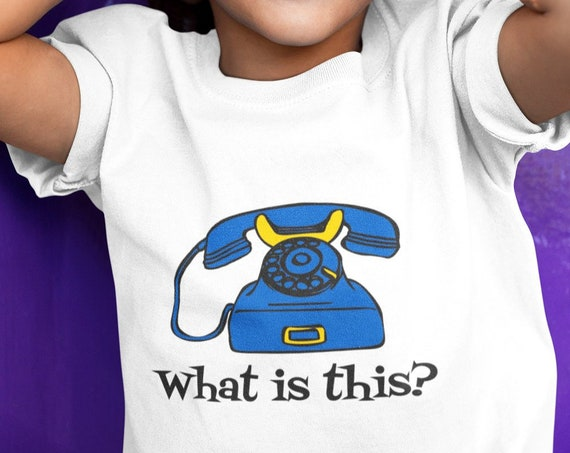 Tee for Kids - Funny What is this Rotary Phone Tee - Youth Short Sleeve T-Shirt - Gift for Toddler