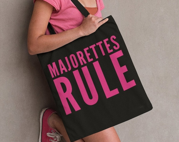 Baton Twirler Tote bag - Majorettes Rule Large Black Handbag