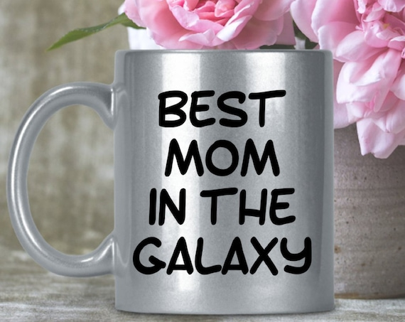 Best Mom in the Galaxy - Shiny Sparkly Mothers Day Mug - Mum gift idea - glittery cup