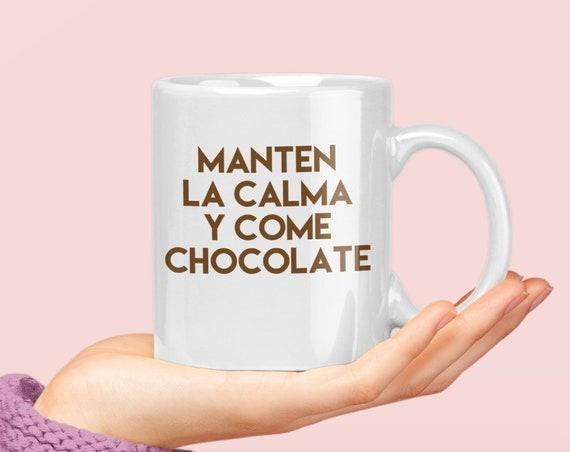 Regalo de navidad - manten la calma y come chocolate - para amiga amigo mama