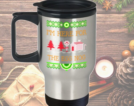 Ugly christmas mug - i'm here for the egg nog - ugly sweater party favor