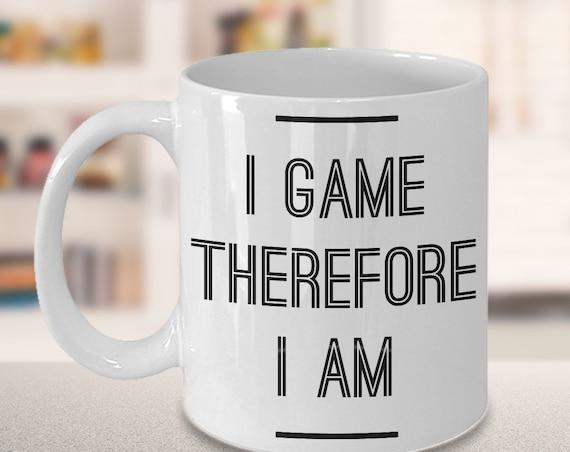 Nerdy gamer gifts  i game therefore i am  tea or coffee mug